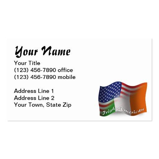 Irisch-Amerikanische wellenartig bewegende Flagge Visitenkartenvorlage