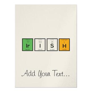 Irische chemische Elemente Zy4ra 16,5 X 22,2 Cm Einladungskarte