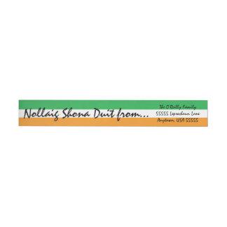 Irische Flagge Nollaig Shona Duit Weihnachtsgrüße Rundum-Adressaufkleber