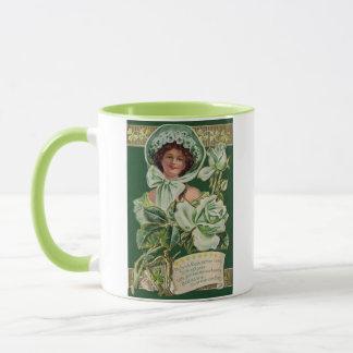 Irische Frauen-Rosen-Kleeblatt-Lehm-Rohr-Harfe Tasse