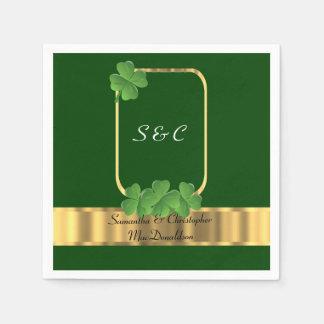 Irische Grün-, Gold- und Kleeblatthochzeit Serviette