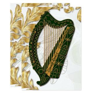 Irische Harfe mit Mohnblumen und GoldBlätter - Karte