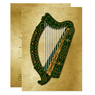 Irische Harfe u. Segen - flache 5 Karte