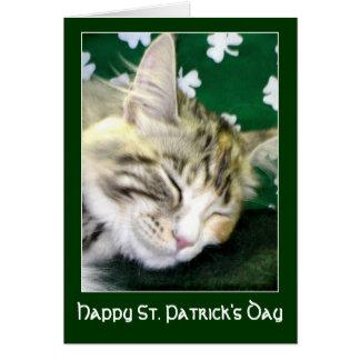 Irische Katze träumt St Patrick Tag Karte
