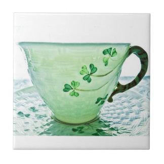 Irische Kleeblatt-Vintage Tee-Schale Kleine Quadratische Fliese