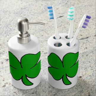 Irische Kleeblätter Seifenspender & Zahnbürstenhalter