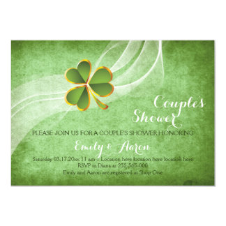 Irische Kleegrünhochzeits-Paardusche 12,7 X 17,8 Cm Einladungskarte