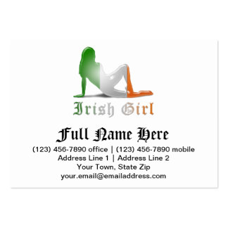 Irische Mädchen-Silhouette-Flagge Mini-Visitenkarten