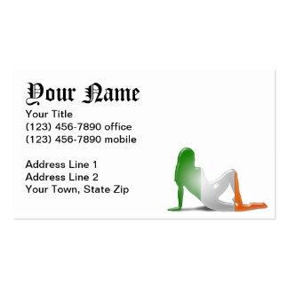 Irische Mädchen-Silhouette-Flagge Visitenkarten