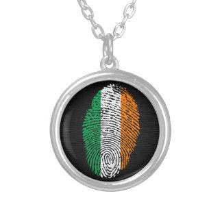 Irische Touchfingerabdruckflagge Halskette Mit Rundem Anhänger
