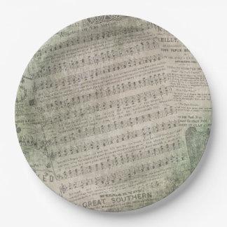 Irische Vintage Blatt-Musik, Tragen des Grüns Pappteller
