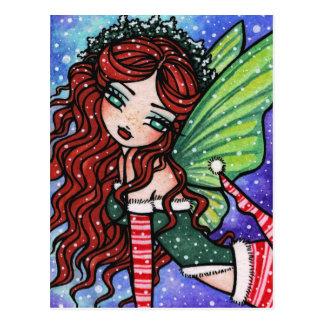 Irische Weihnachtswinter-Schneeflocke-feenhafte Postkarte