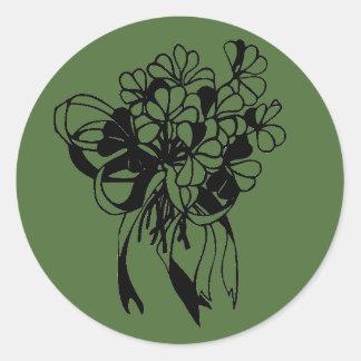 Irischen Kleeblatt-Blumenstrauß-St Patrick Runder Aufkleber