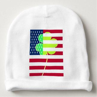 Irischer amerikanische Flaggen-Kleeblatt-Klee St Babymütze