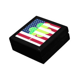 Irischer amerikanische Flaggen-Kleeblatt-Klee St Erinnerungskiste