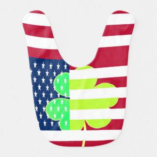 Irischer amerikanische Flaggen-Kleeblatt-Klee St Lätzchen