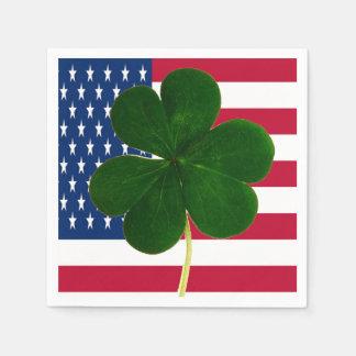 Irischer amerikanische Flaggen-Kleeblatt-Klee St Papierserviette