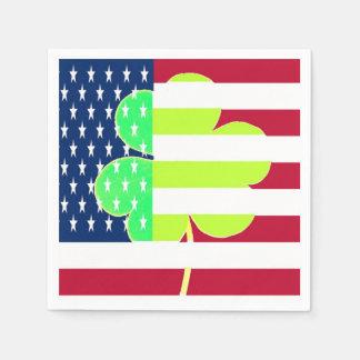 Irischer amerikanische Flaggen-Kleeblatt-Klee St Servietten
