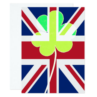 Irischer britischer Flaggen-Kleeblatt-Klee St Karte