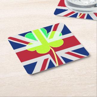 Irischer britischer Flaggen-Kleeblatt-Klee St Rechteckiger Pappuntersetzer