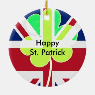 Irischer britischer Flaggen-Kleeblatt-Klee St Rundes Keramik Ornament