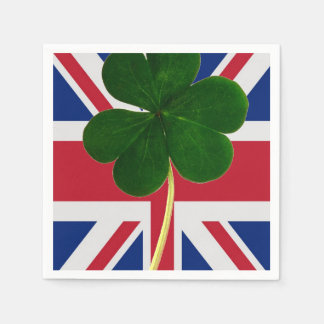 Irischer britischer Flaggen-Kleeblatt-Klee St Serviette
