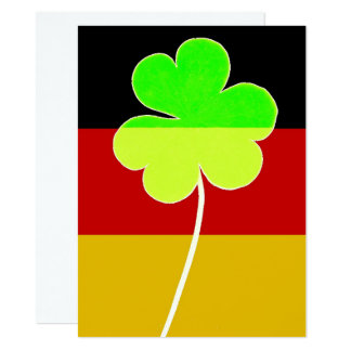 Irischer deutscher Flaggen-Kleeblatt-Klee-St- Karte