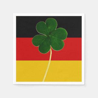 Irischer deutscher Flaggen-Kleeblatt-Klee-St- Serviette