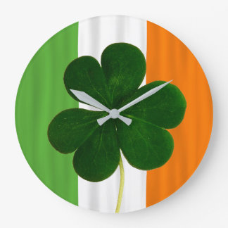 Irischer Flaggen-Irland-Kleeblatt-Klee Irland Große Wanduhr