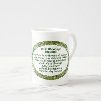 Irischer Heirat-Segen, Gold u. grüne Hochzeit Porzellantasse