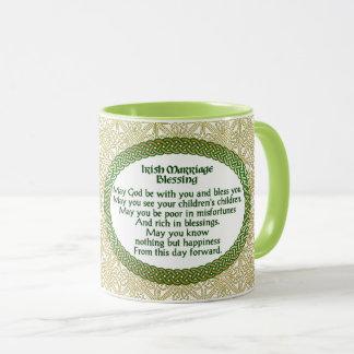 Irischer Heirat-Segen, Gold u. grüne Hochzeit Tasse