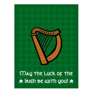 Irischer keltischer Harfen-Heiliges Patricks Tag Postkarte