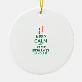 Irischer Mädchenentwurf Rundes Keramik Ornament