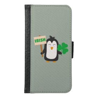 Irischer Penguin mit Kleeblatt Zjib4 Samsung Galaxy S6 Geldbeutel Hülle