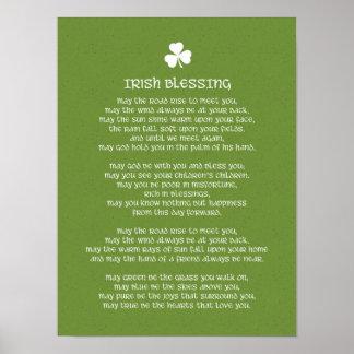 Irischer Segen und Kleeblatt Poster