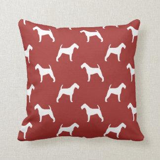 Irischer Terrier-Silhouette-Muster-Rot Kissen