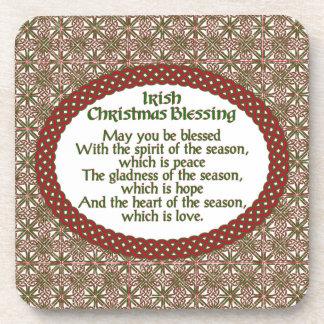 Irischer Weihnachtssegen, roter grüner keltischer Getränkeuntersetzer