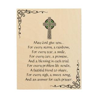 Irisches Gebets-hölzerne Leinwand-Wand-Kunst Holzdruck