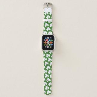 Irisches glückliches Kleeblatt-Grün-Weiß-Muster Apple Watch Armband