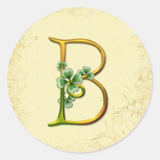Irisches Goldmonogramm B Runde Aufkleber