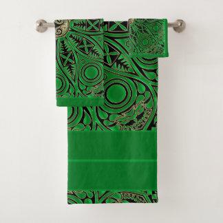 Irisches grünes Celtic Triskele Mandala-Tuch-Set Badhandtuch Set