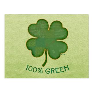 Irisches Kleeblatt - 100% Grün Postkarte