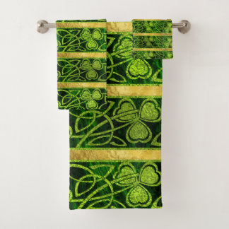 Irisches Kleeblatt - Klee-Gold und grünes Muster Badhandtuch Set