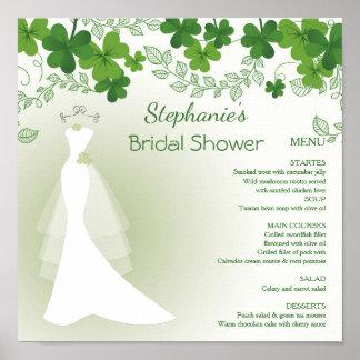 irisches Kleeblatt, Kleid, Brautparty-Menü Poster