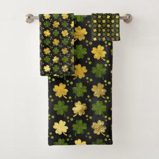 Irisches Kleeblatt-vierblättriges Kleeblatt Badhandtuch Set