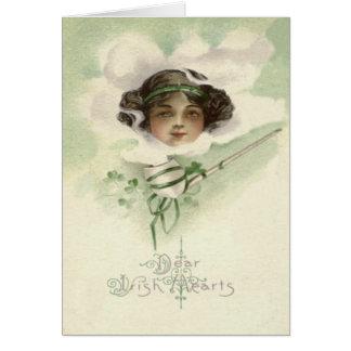 Irisches Mädchen-Lehm-Rohr-Rauch-Kleeblatt Karte