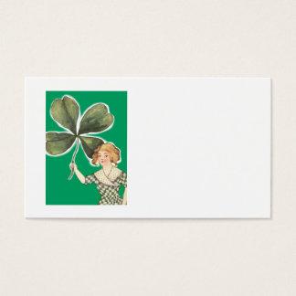 Irisches Mädchen vierblättriges Kleeblatt Retro Visitenkarte