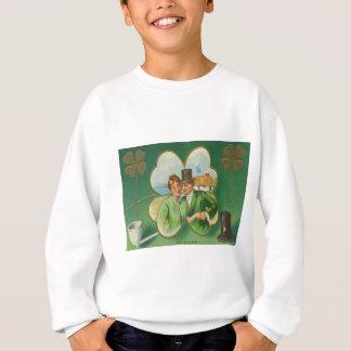 Irisches Paar-Lehm-Rohr-vierblättriges Kleeblatt Sweatshirt