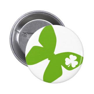 irisches Schmetterlings-Kleeblatt Runder Button 5,1 Cm