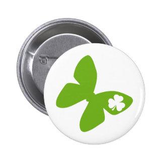 irisches Schmetterlings-Kleeblatt Runder Button 5,7 Cm